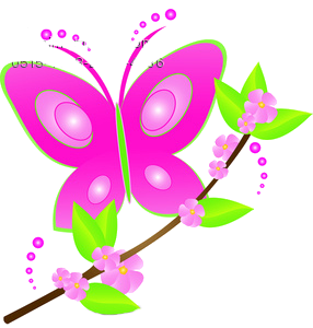 Pink flower and butterfly clipart.