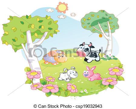EPS Vector of farm animals at the flower garden.