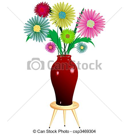 Drawing of flowers arrangement with wooden chair, abstract art.