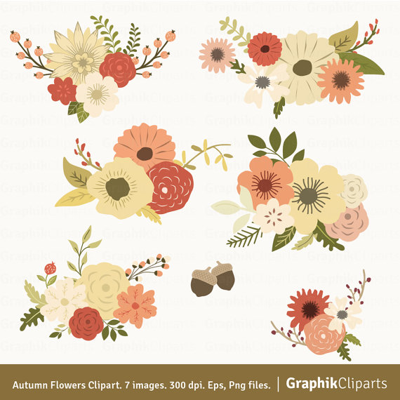 Autumn Flowers Clipart. Floral Clipart. Flowers for Wedding.