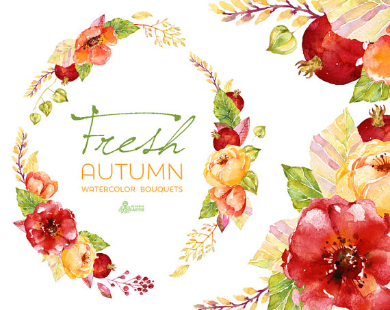 Fresh Autumn Bouquets & Wreath. Handpainted Watercolor Clipart.
