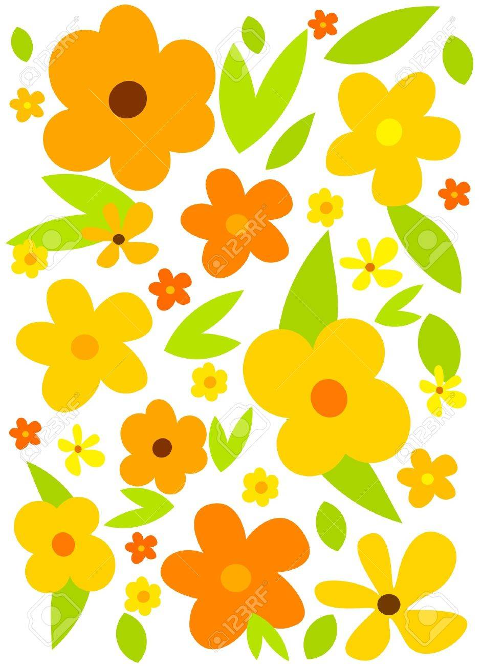 Flower background with yellow flowers. Vector.