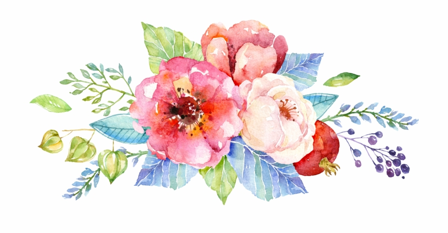 Watercolor Flower Background Design , Png Download.