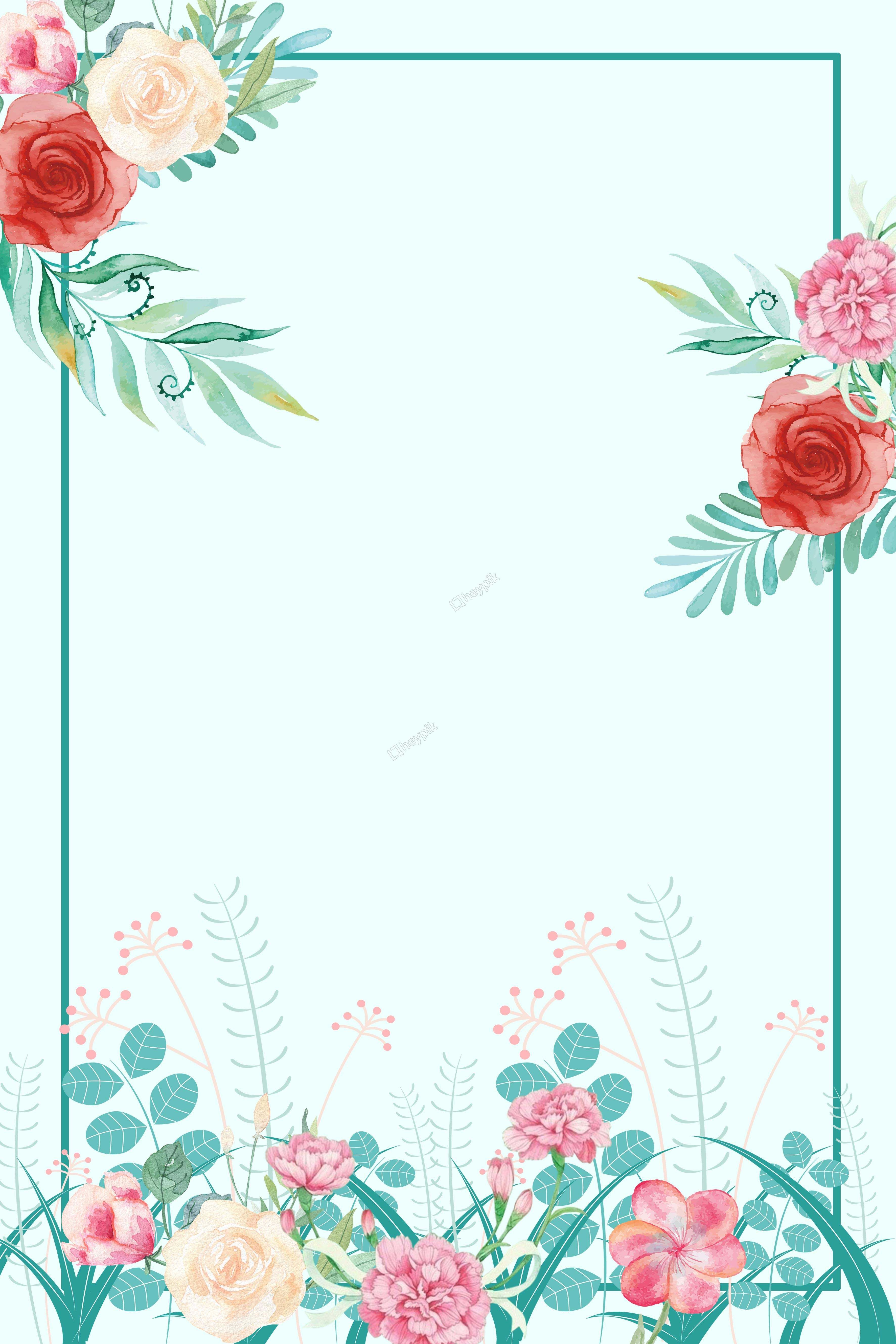 fresh plant flowers border background.