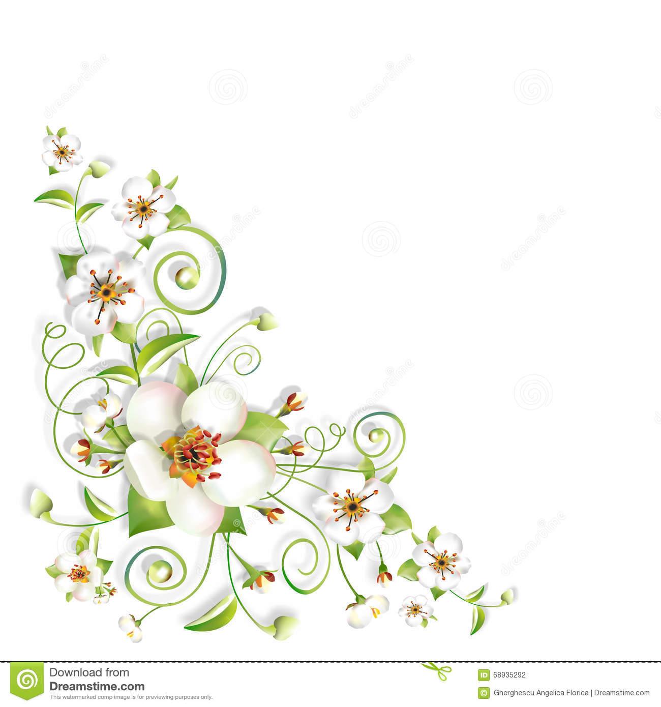 Sprig Flowers Background Corner Stock Photo.