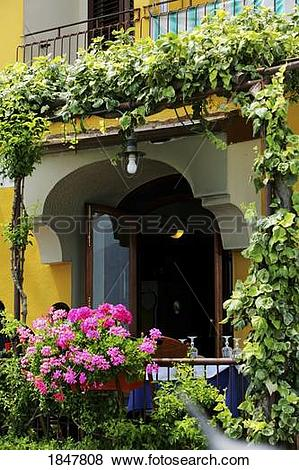 Pictures of Positano, Campania, Italy; Balcony with flowers and.