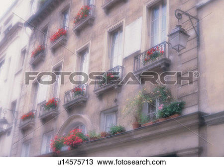 Stock Photo of outdoor, Europe, building, balcony, soft focus.