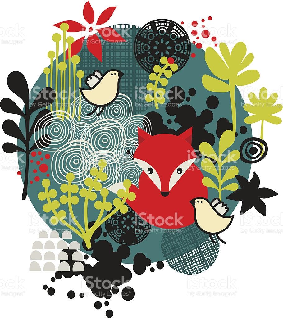 Flower Ball With Cute Little Fox stock vector art 505147767.