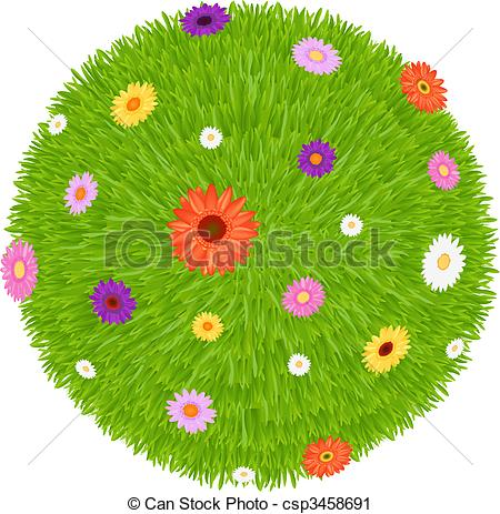 Vector Clip Art of Grass Ball With Colourful Flowers, Isolated On.