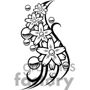 Clip art of Flower Balls Tattoo Design picture..