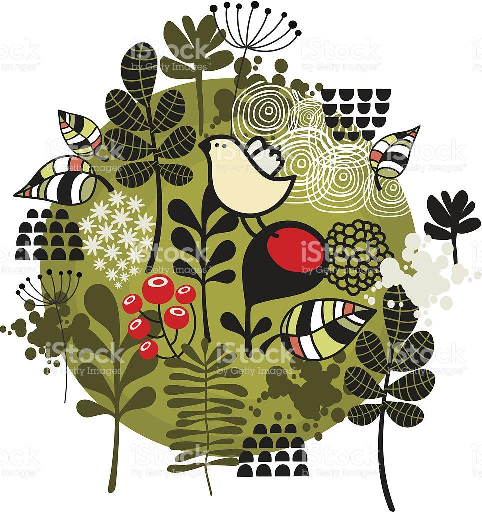 Flower Ball With Cute Little Bird stock vector art 504856289.