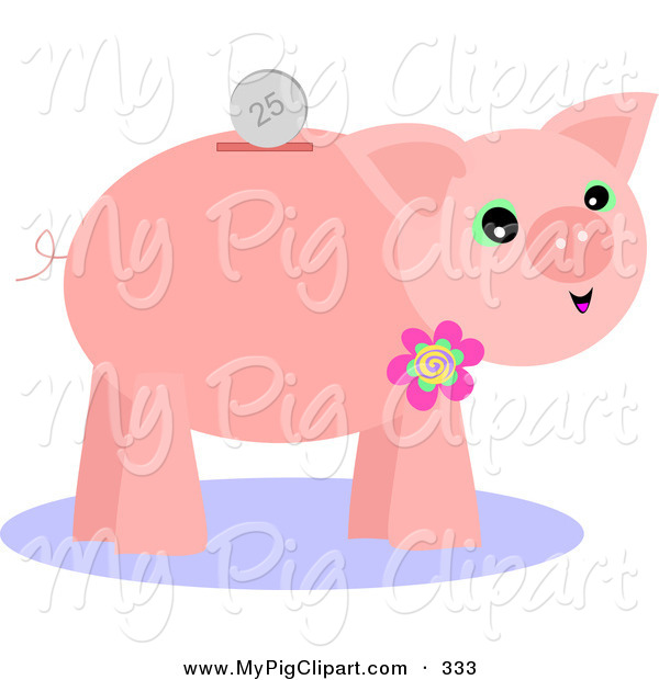 Swine Clipart of a Coin over a Pink Piggy Bank with a Flower on.