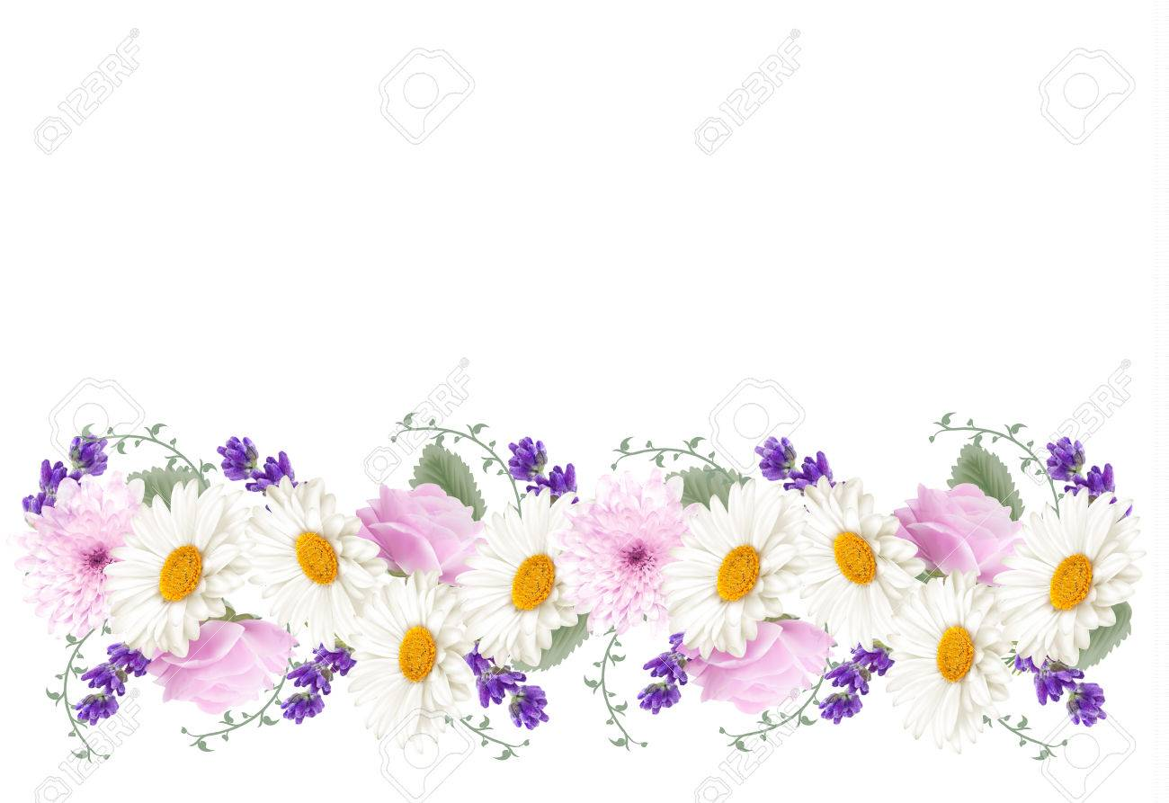 Beautiful holiday flower banner border. Vector..
