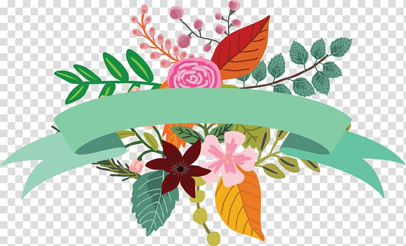 Green ribbon with flowers decor illustration, Flower.