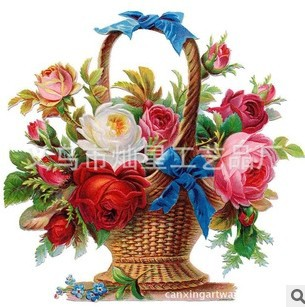 Drawing Of Basket Of Flowers.