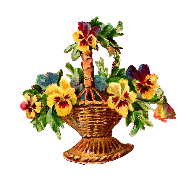 Antique Images: Free Vintage Digital Flower Basket Clip Art of.