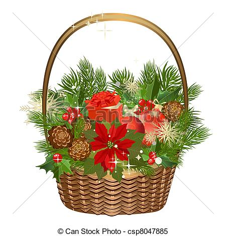 Clipart Vector of Gift basket with flowers and Christmas toys.