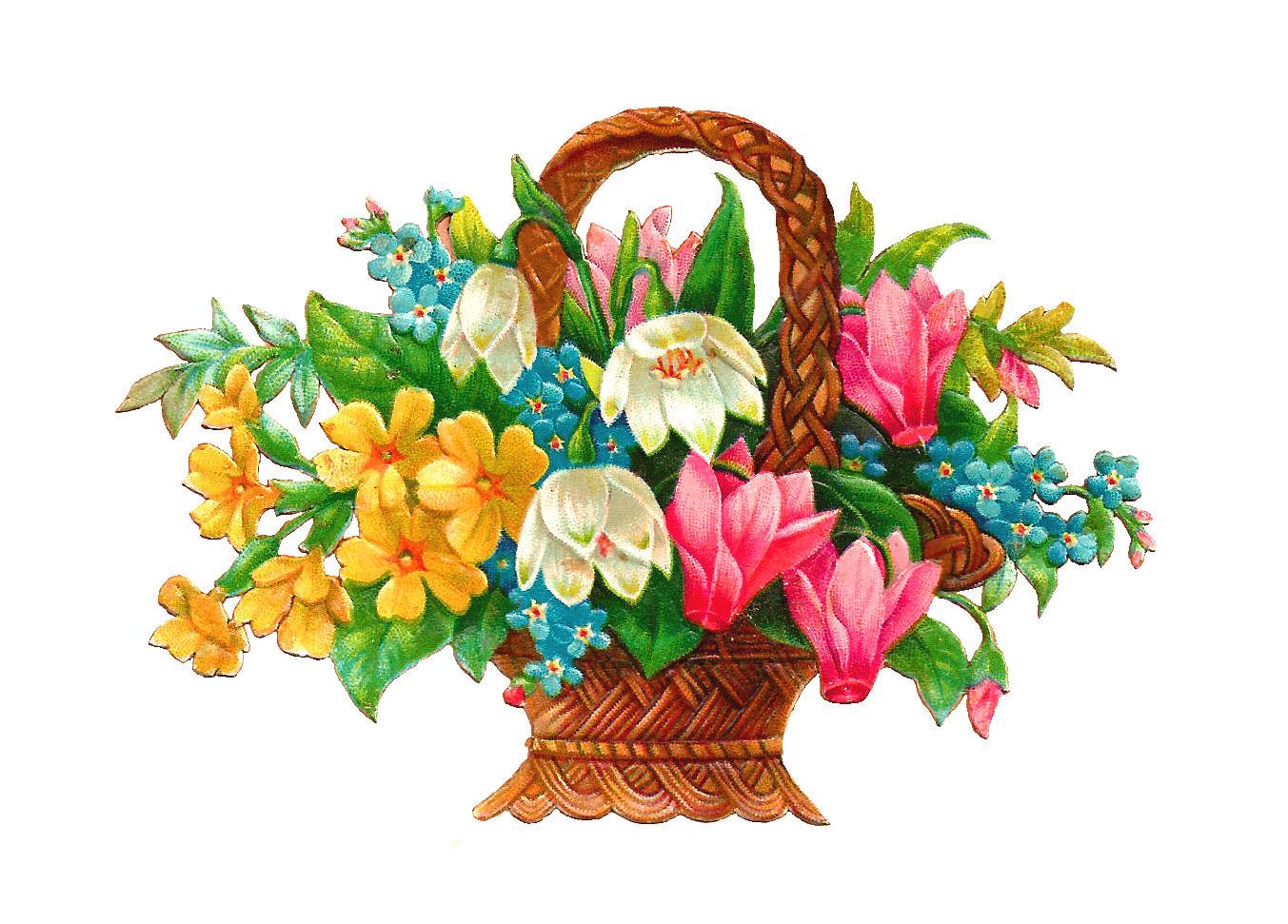 Antique Images: Free Flower Basket Clip Art: 2 Wicket Baskets Full.