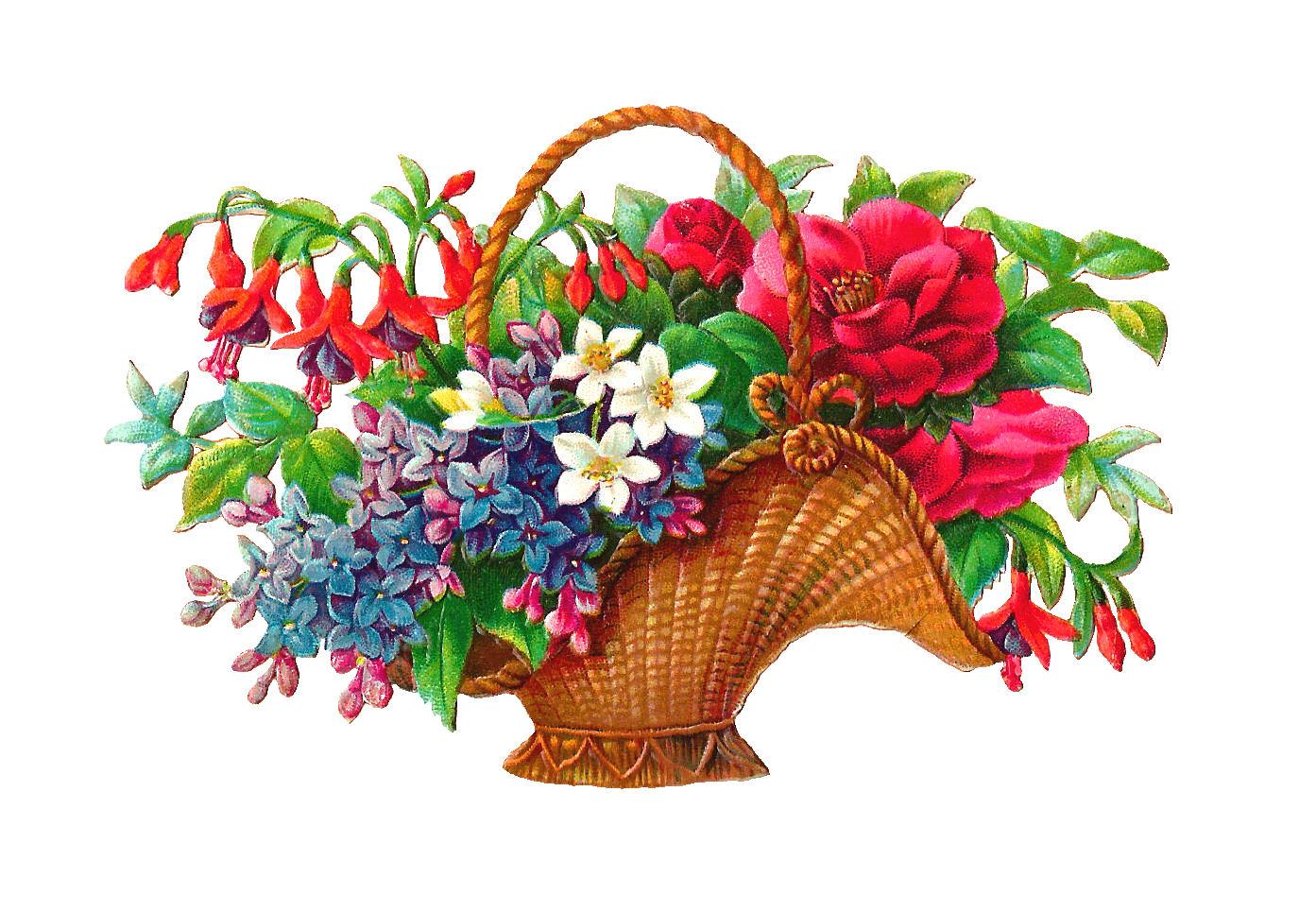 Flower basket clip art free.