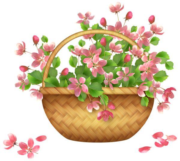 Spring Flower Basket PNG Clipart.