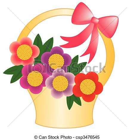 Clipart Vector of Basket flower.
