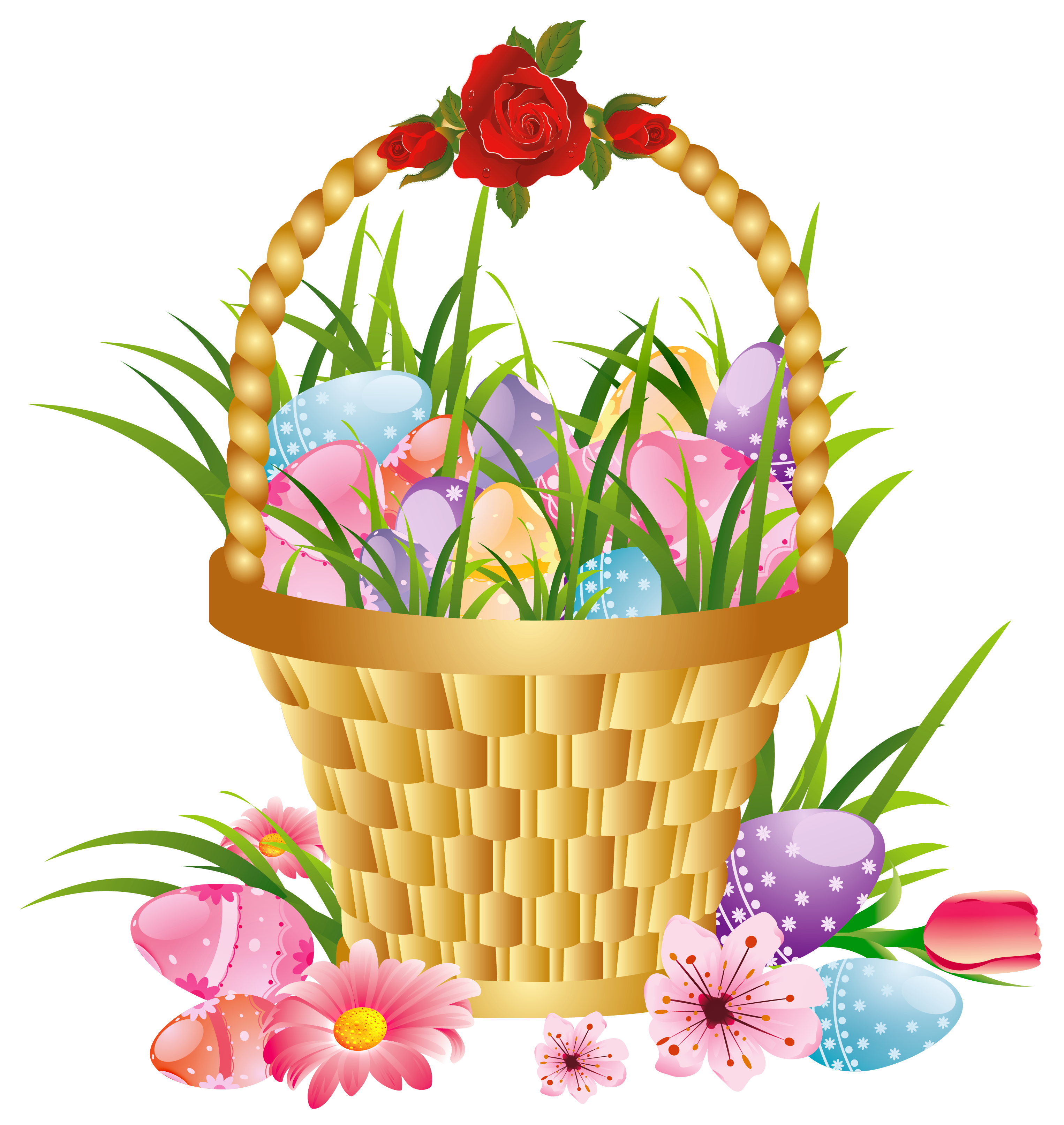 Easter Basket with Eggs and Flowers PNG Picture Clipart.