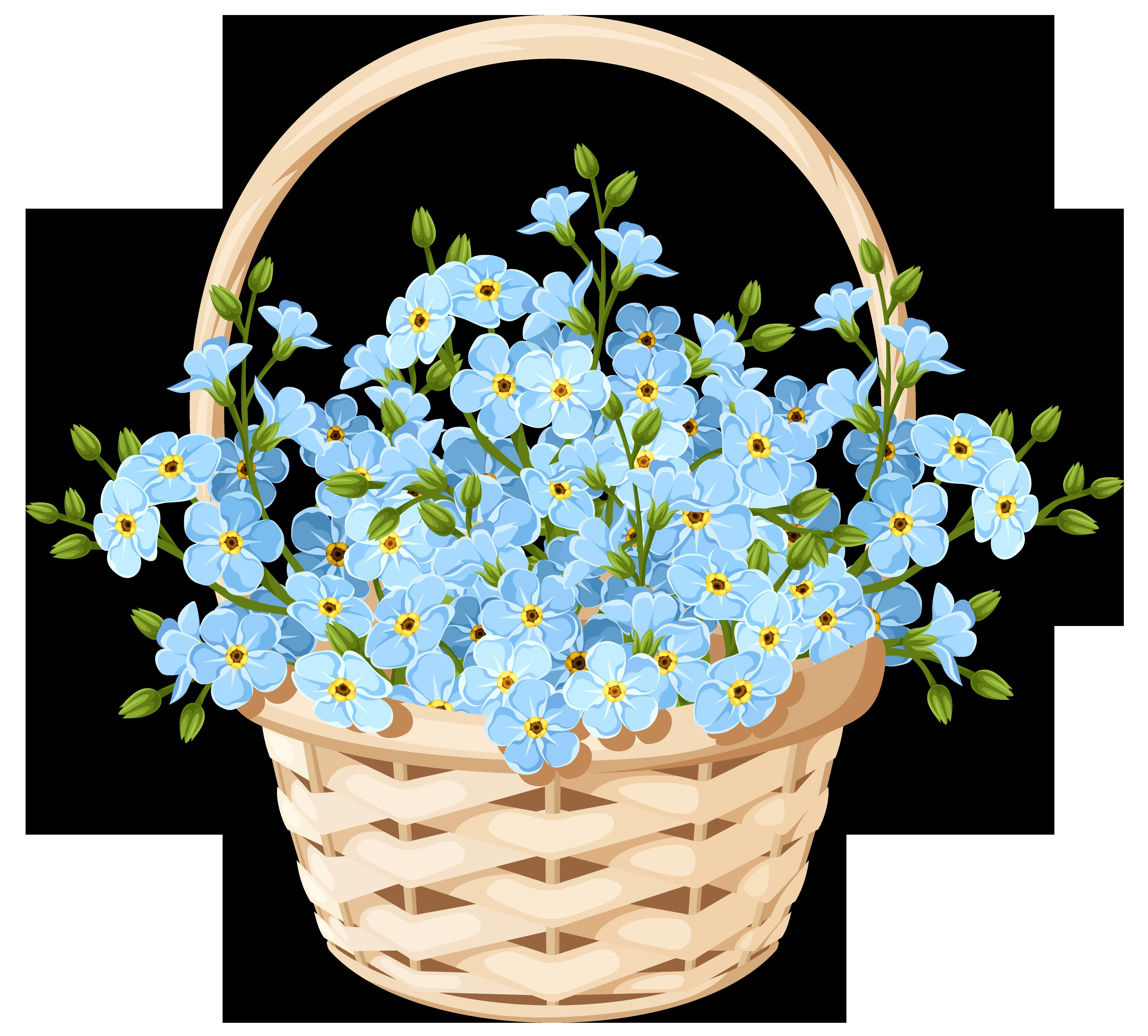 Flower Basket Transparent PNG Clip Art Image.