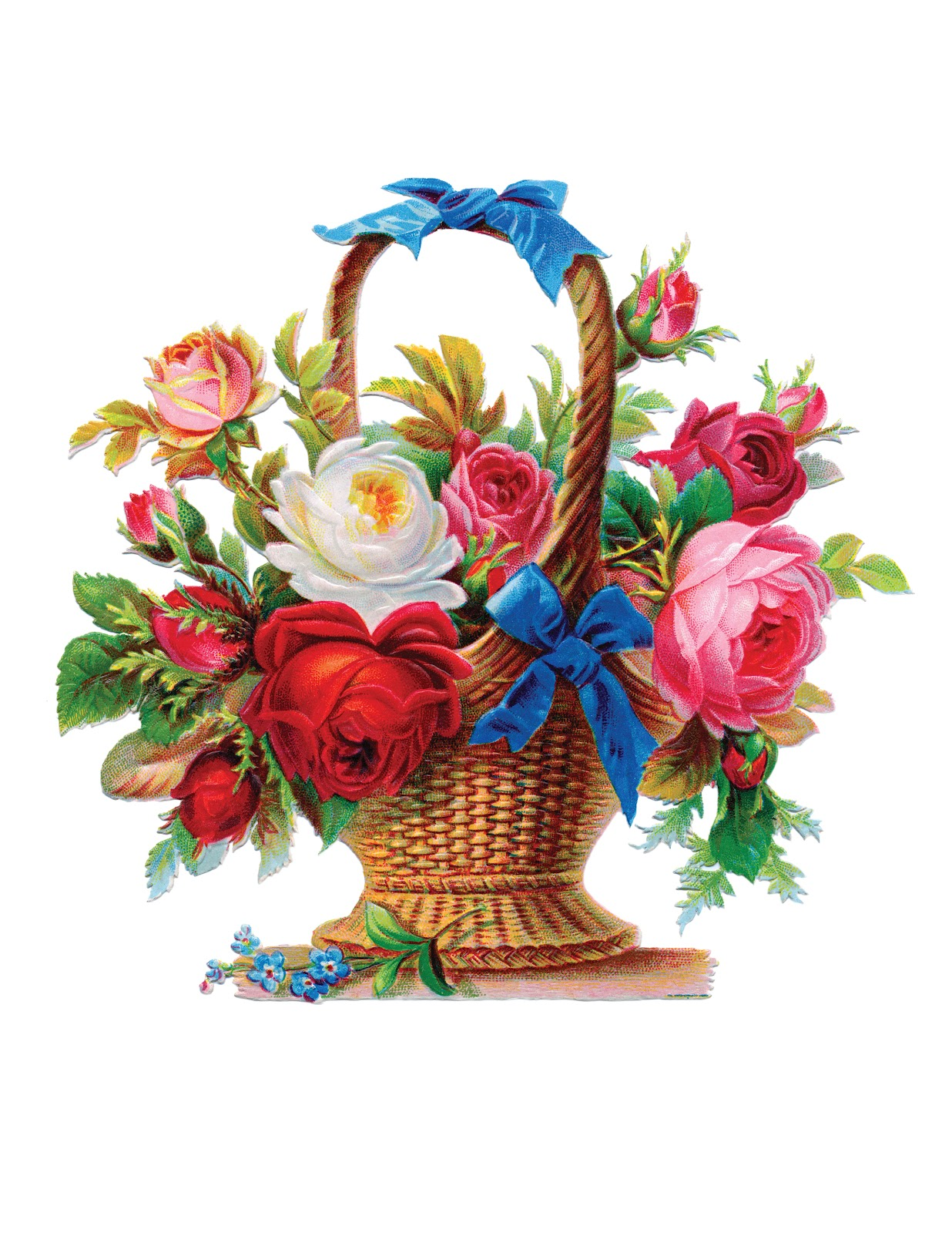 Basket Of Flowers Clipart.