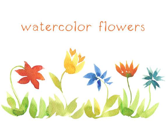 Digital Clip Art, Watercolor Flowers, Watercolor Flowerbed by.