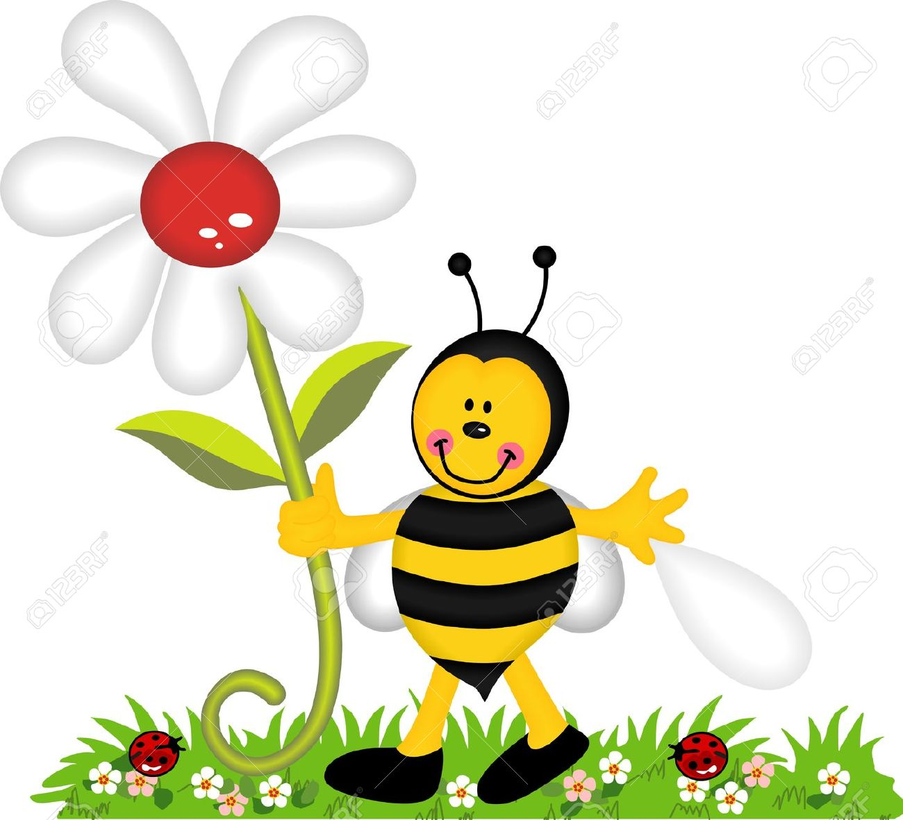 Happy Bee Holding Flower In Garden Royalty Free Cliparts, Vectors.