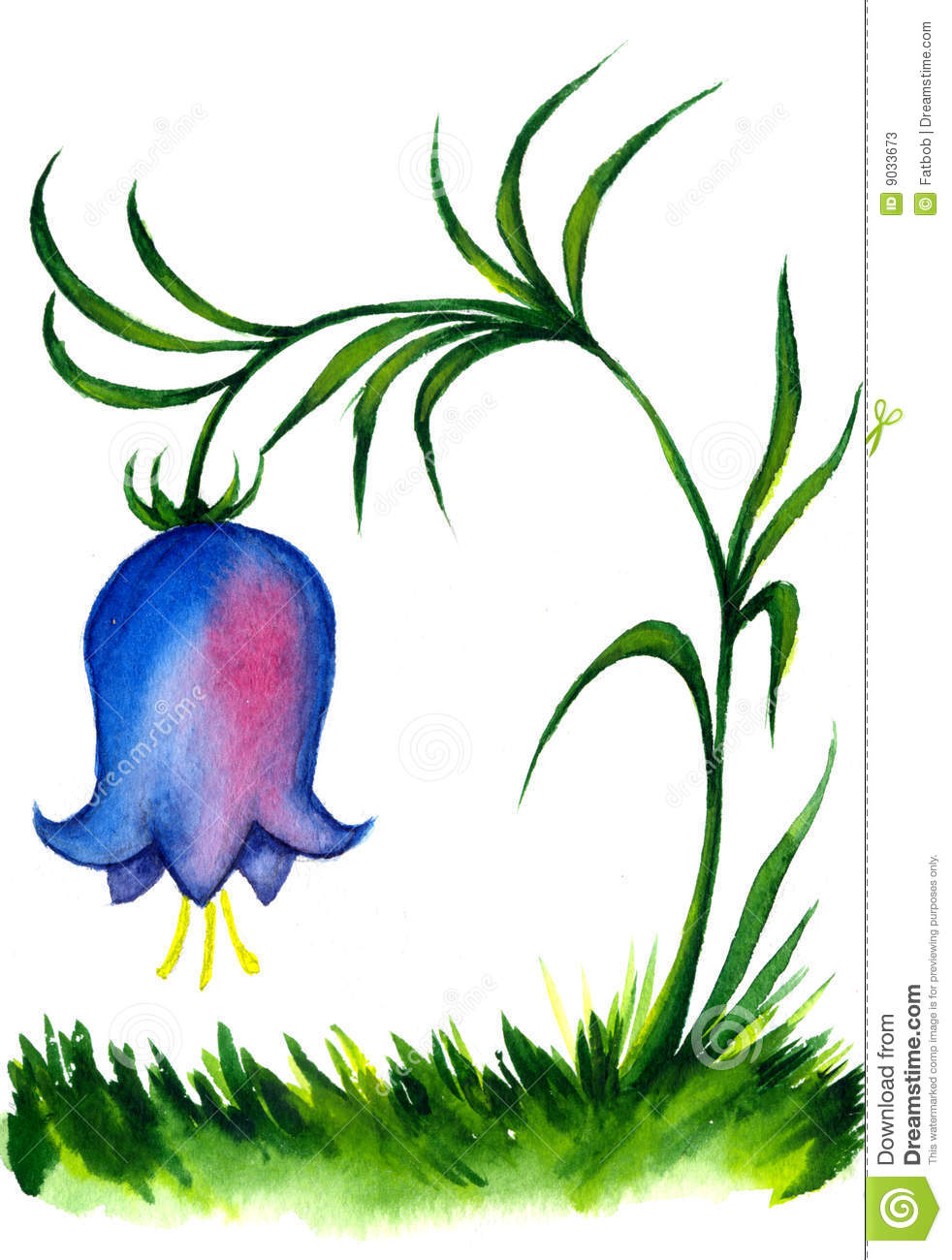 Bell Flower Painting Stock Photos.