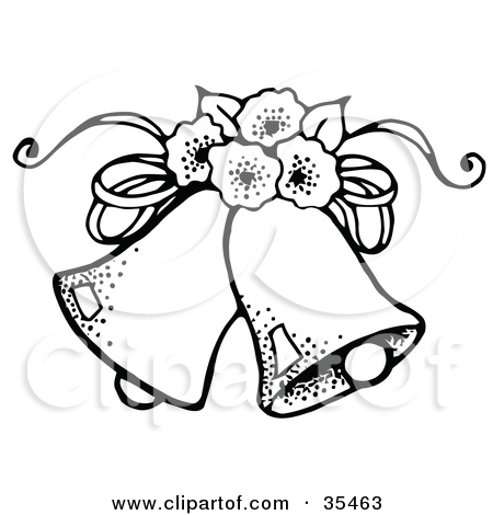 Clipart Illustration of Two Wedding Bells With Flowers by C.