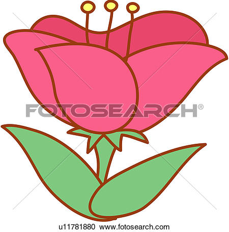 Clipart of blossom, flower, bloom, flowers, plants, red flowers.