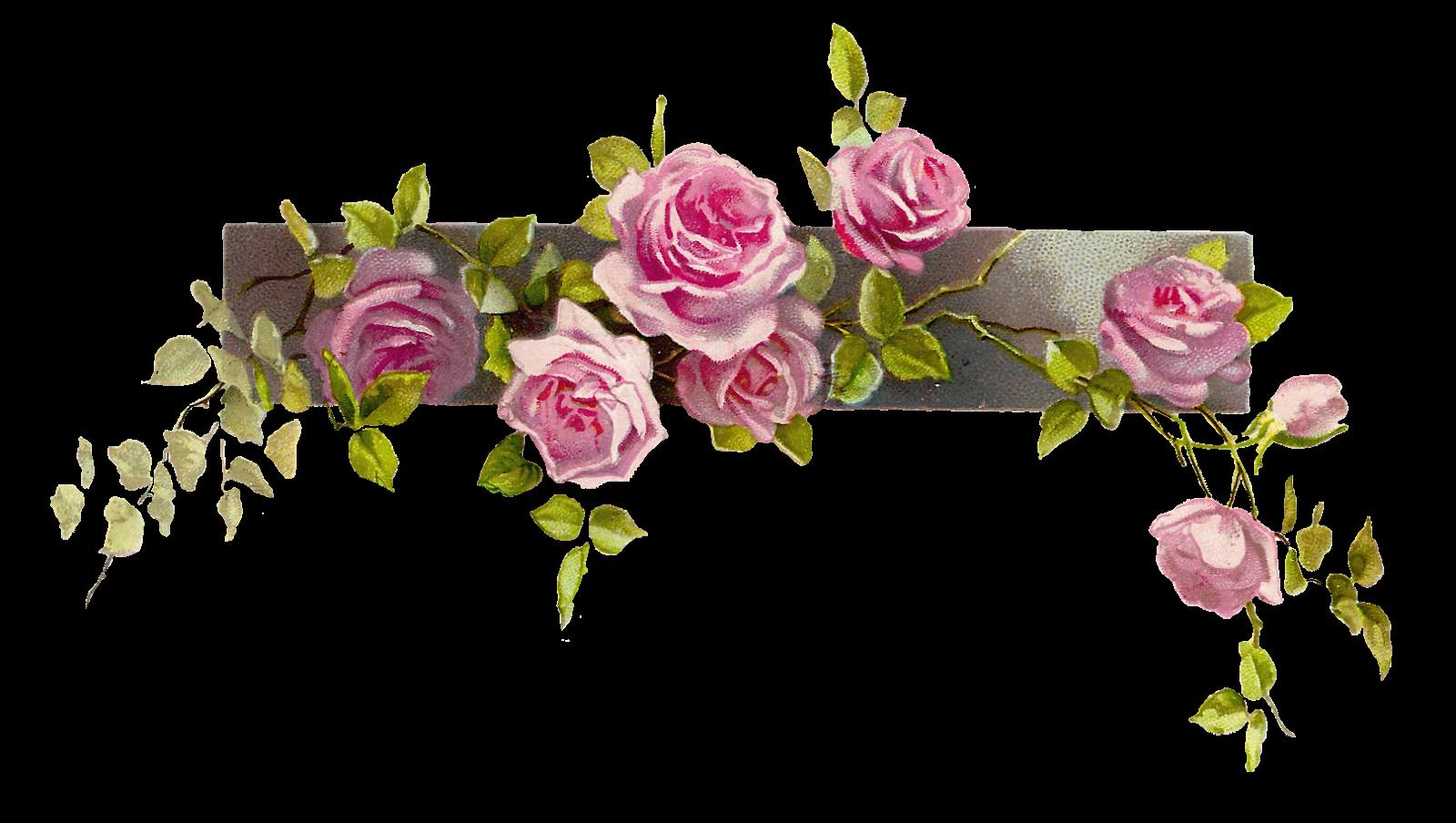Flower border flower clip art free free flower graphic vintage.