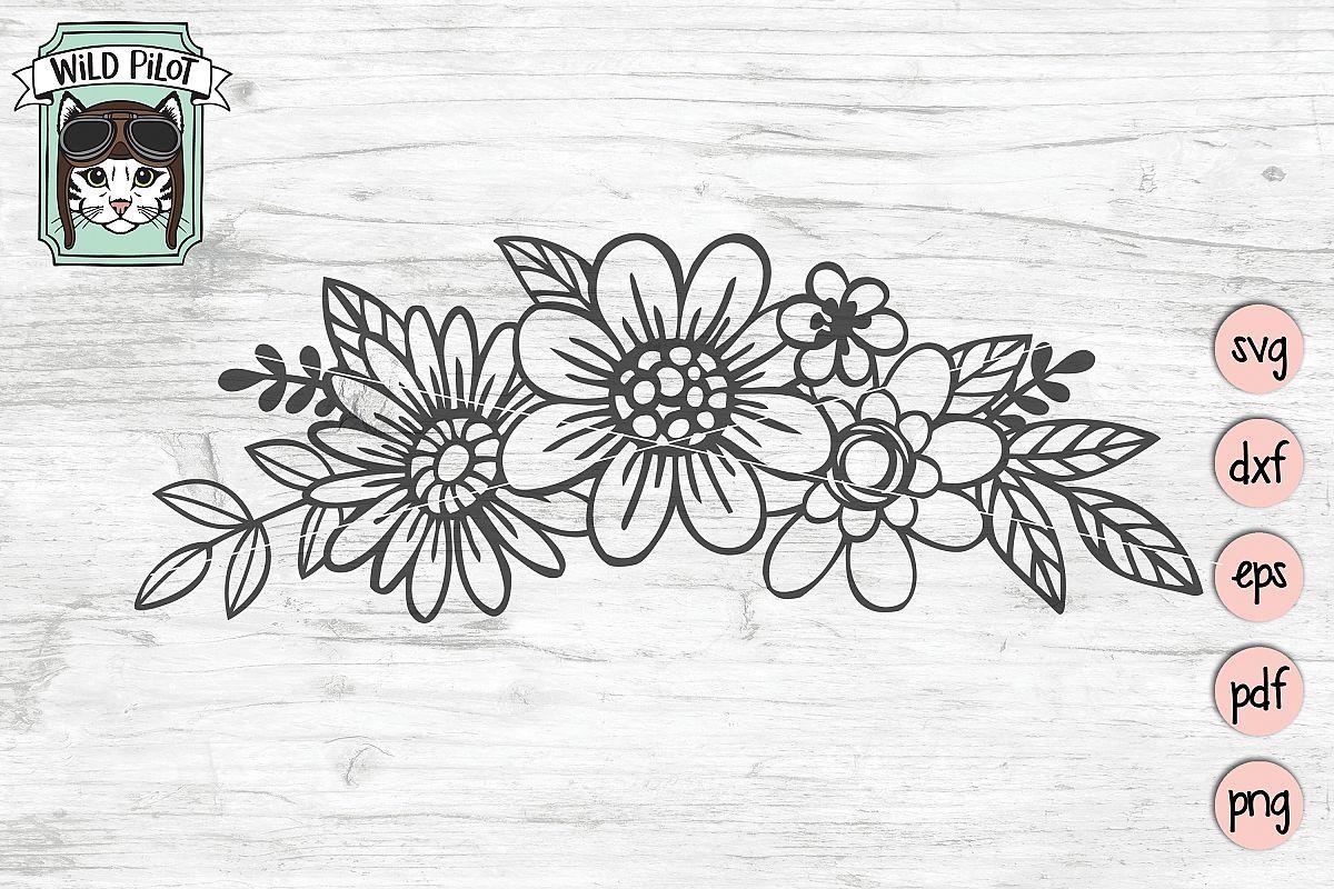 Flowers svg file, Floral cut file, Flowers Border clipart.