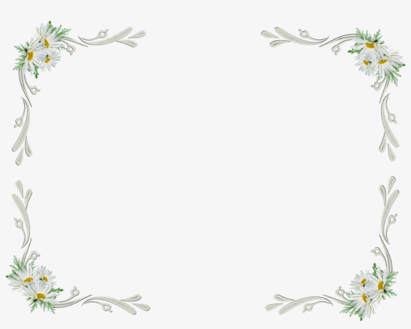 White Floral Border Transparent.