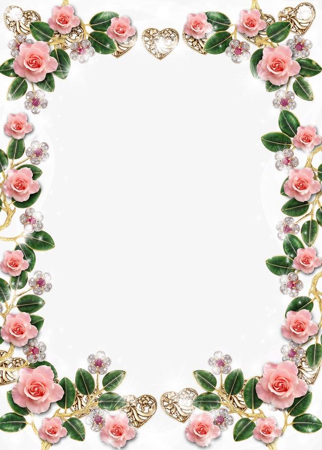 Crystal Flowers Border Frame Background, Frame Clipart, Crystal.