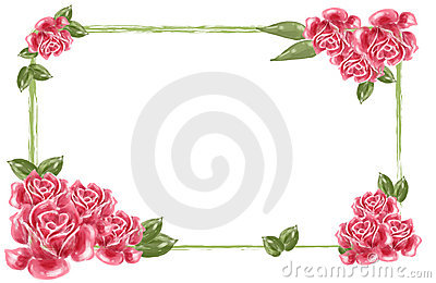 Red Flower Border Royalty Free Stock Photos.