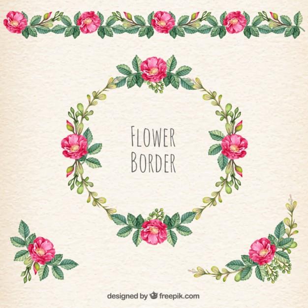 Flower border Vector.