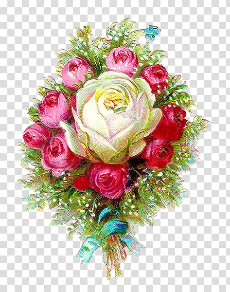 Vintage Flower s, white and pink rose flowers bouquet.