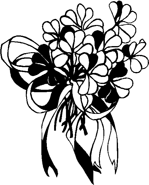 Flower Bouquet Clipart Black And White.