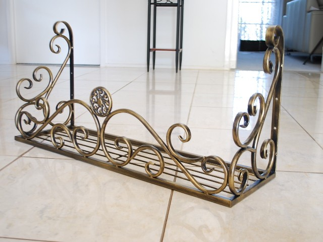 Details about Wrought Iron Curved Window Box Brown Finish Set of 2.