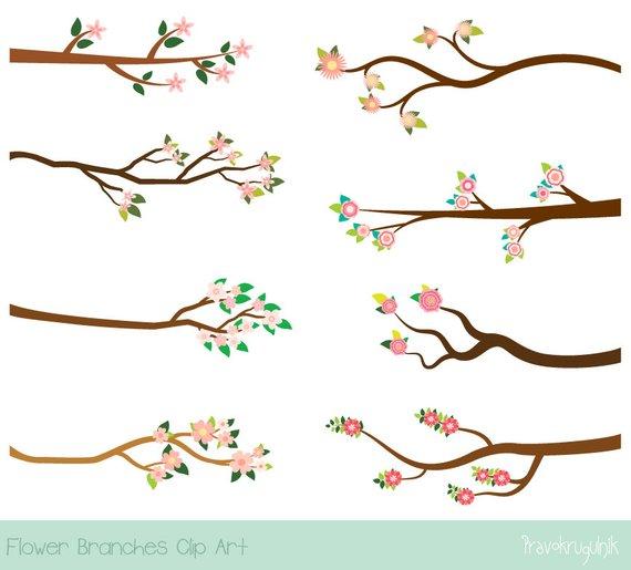 Pink flower branch clipart, Blossom tree branch clip art.