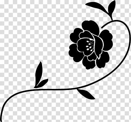 Flower PS Brushes, of black flower transparent background.