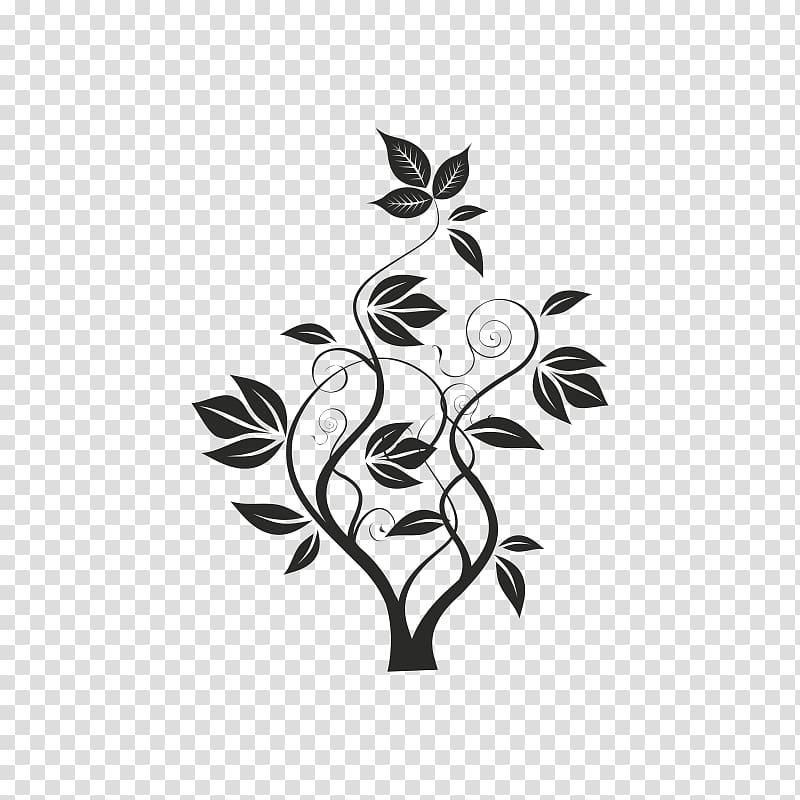 Black plant cartoon , Flower Brush Floral design, FLORES.