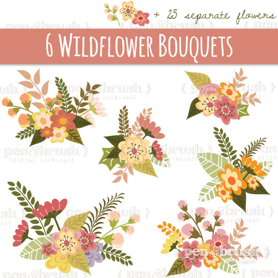 Wildflower Clipart Set, Sweet Clipart Bouquets in Pink and.