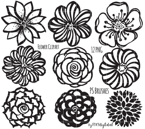 Flower Clipart, Hand Drawn Flower Outline, Digital Stamp.