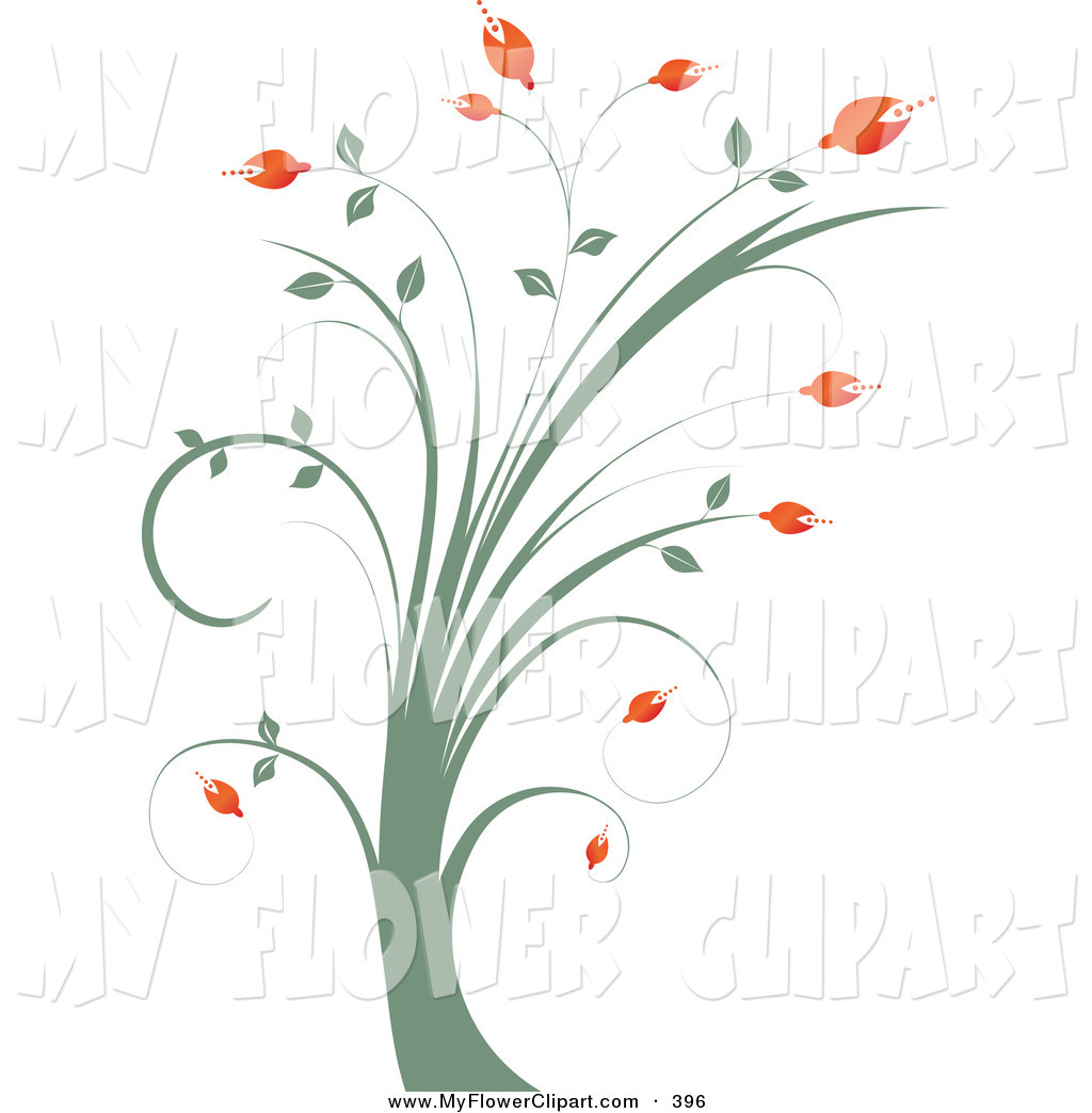 Clip Art of a Tall Green Plant with Red Flower Buds by KJ Pargeter.