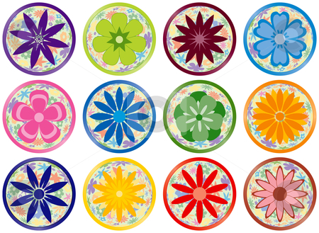 Flower Buttons or Icons stock vector.