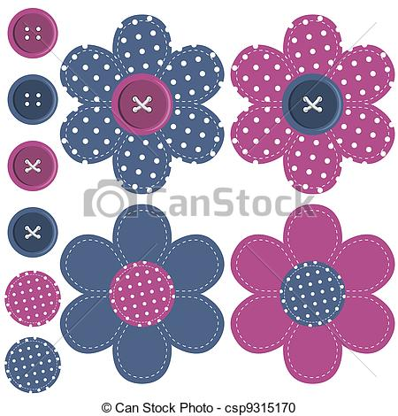 Vector Clipart of set with scrapbook flowers and buttons on white.